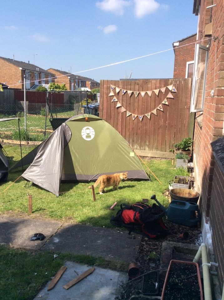 picture of camping in the garden during lockdown