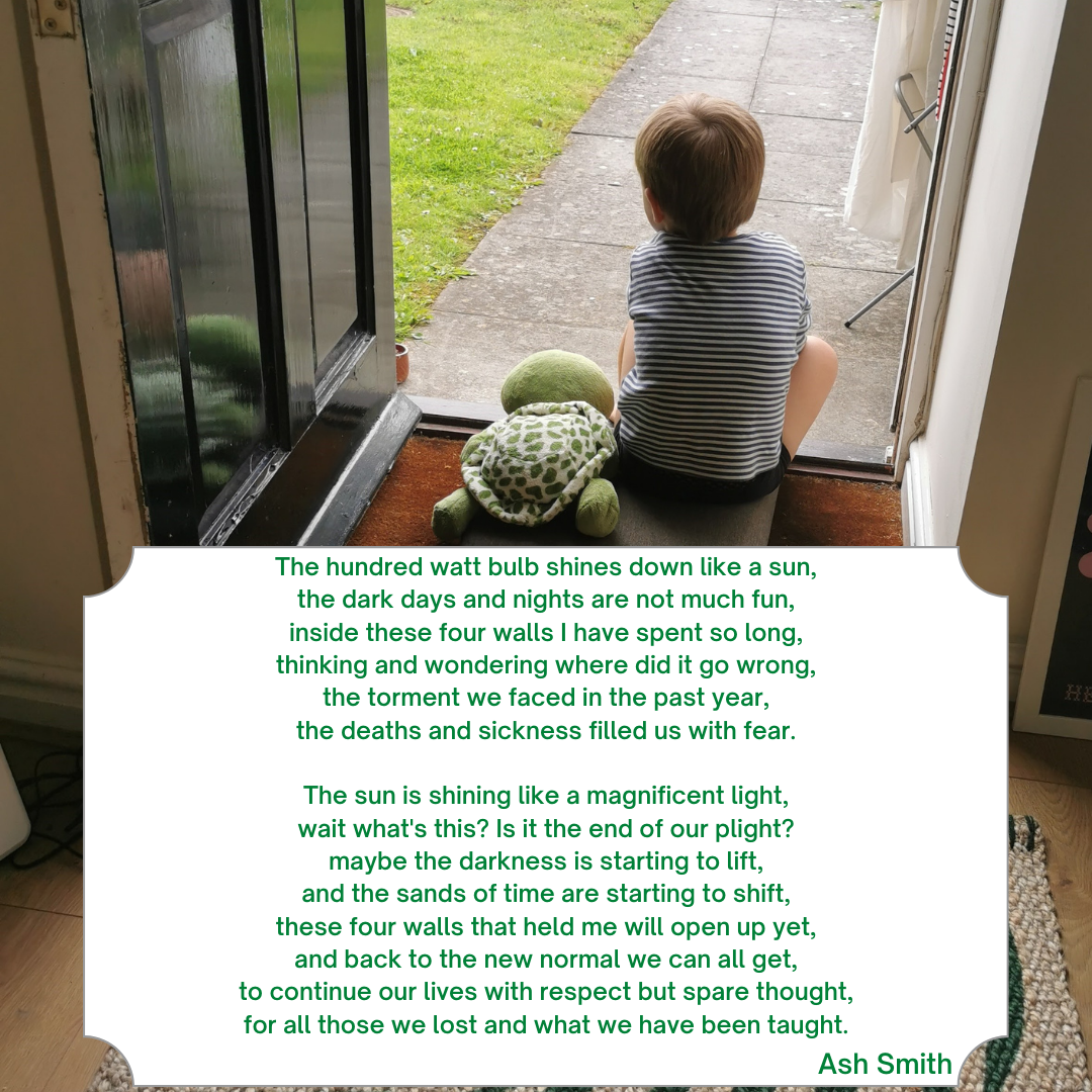 Poem on image of child looking out from doorway with his soft toy