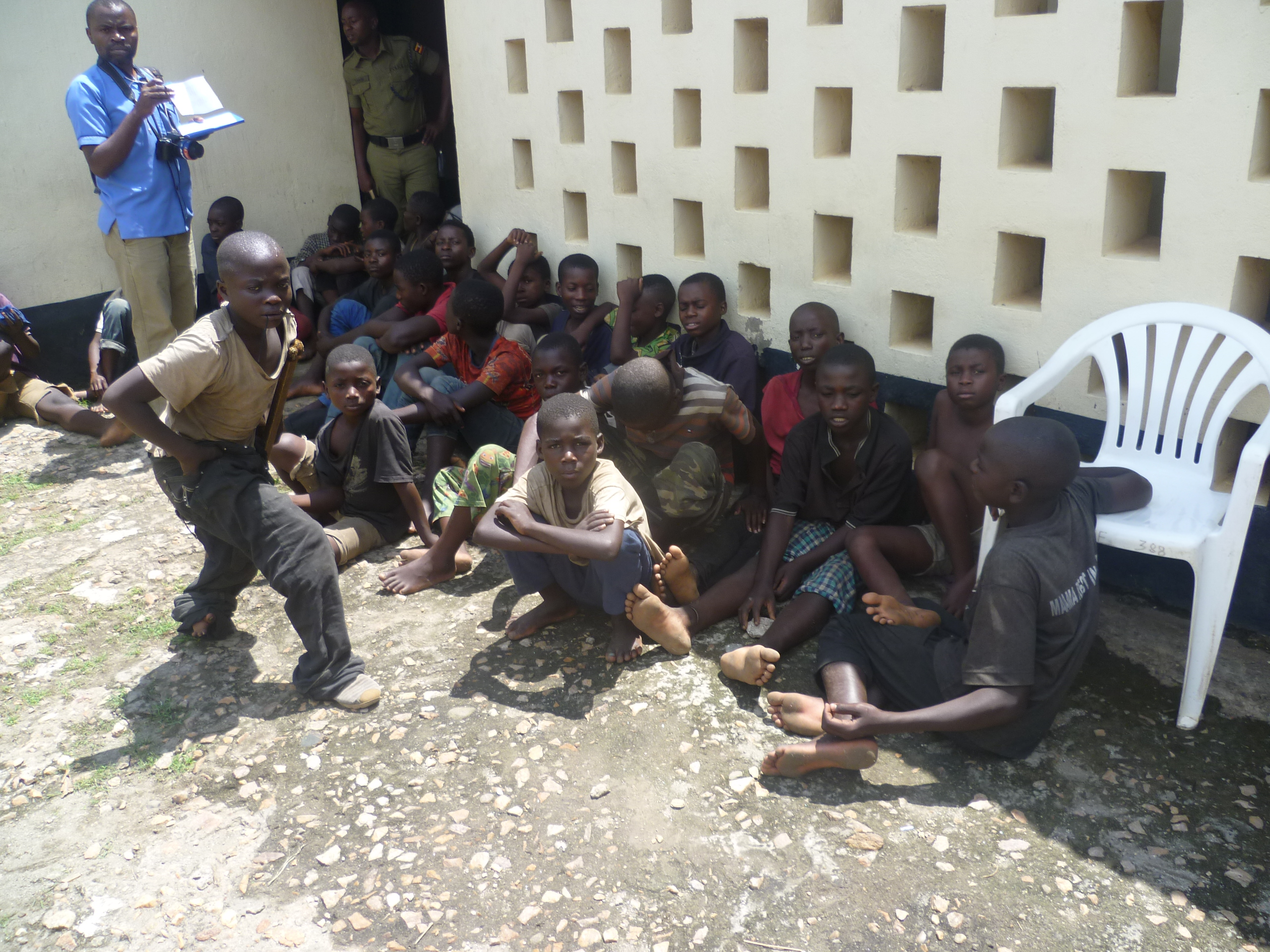 26 Street children (juveniles) rounded up by police, now in custody in Kasese